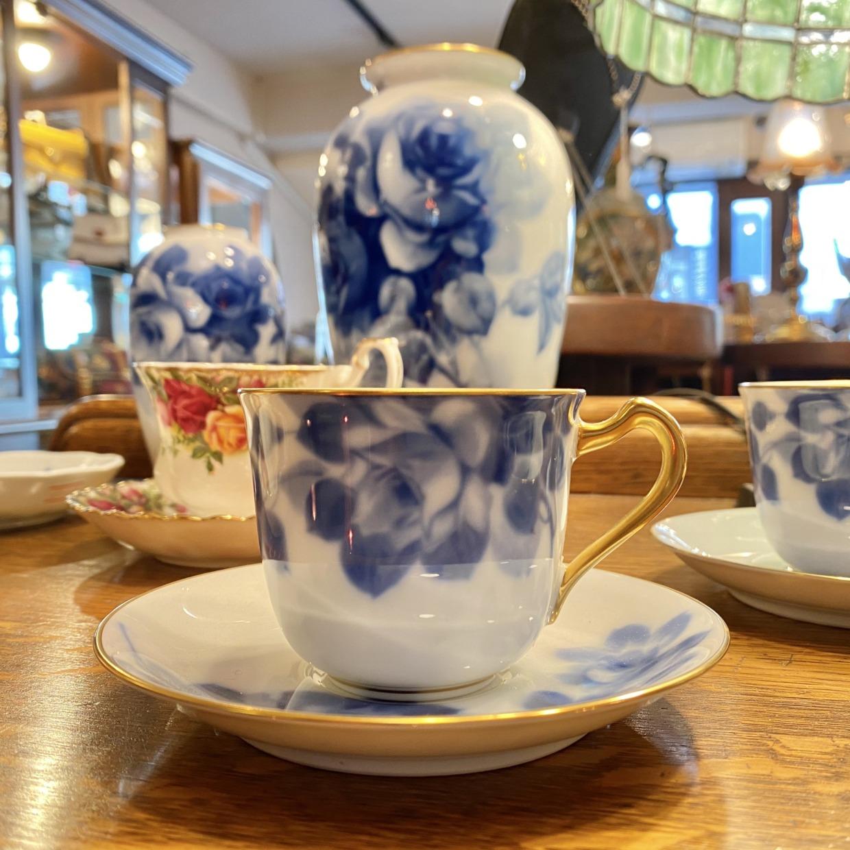 ブルーローズ 大倉陶園 コーヒーカップソーサー