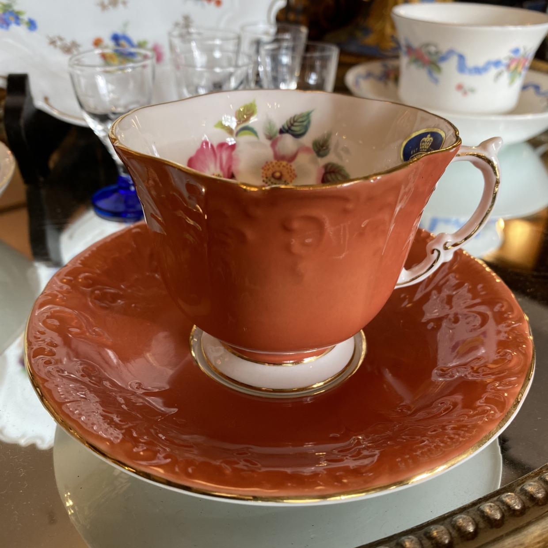 ANSLEY コーラルピンク コーヒーカップソーサー