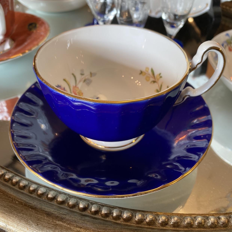 エインズレイ AYNSLEY Cottage Garden Cobalt Blue コーヒーカップソーサー