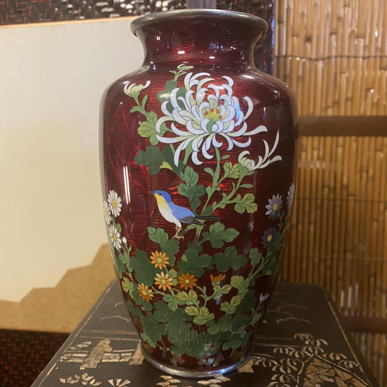 七宝焼き 花瓶 赤地花鳥柄