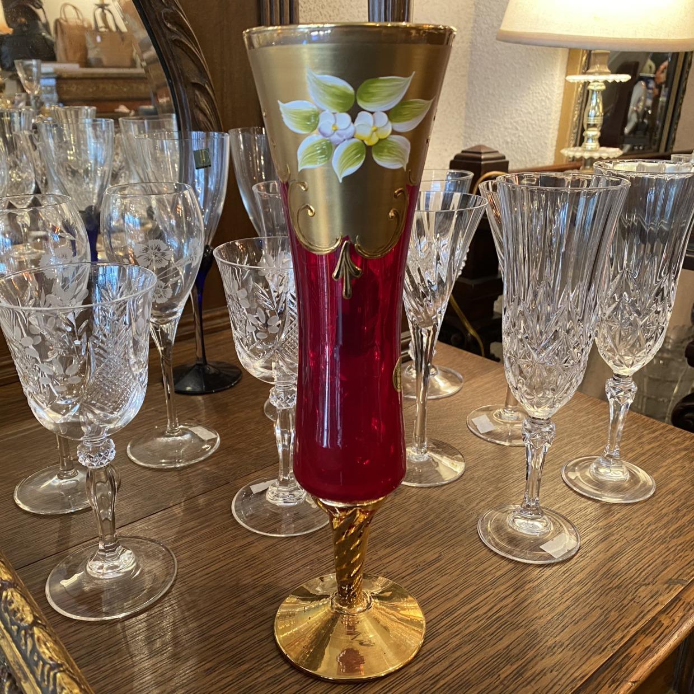 Venetian Glass ベネチアガラス 赤 花瓶 イタリア製