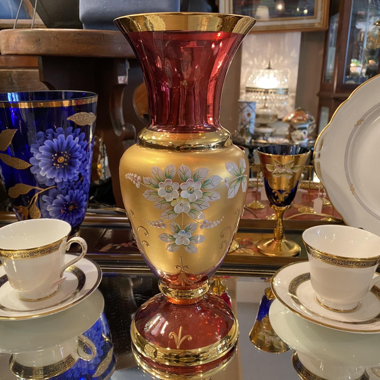 ベネチアガラス ピンク 花瓶 イタリア製
