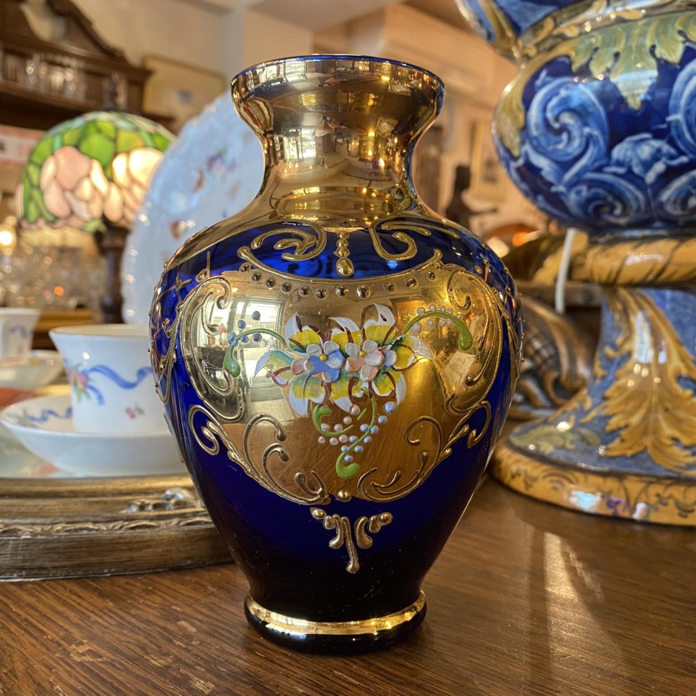 Venetian Glass ベネチアガラス ブルー 花瓶 イタリア製