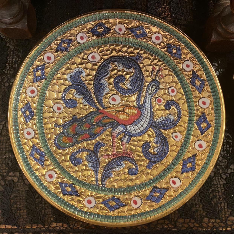Lavorato A Mano In Oro Zecchino Deruta 飾り皿 くじゃくモザイクデザイン イタリア製