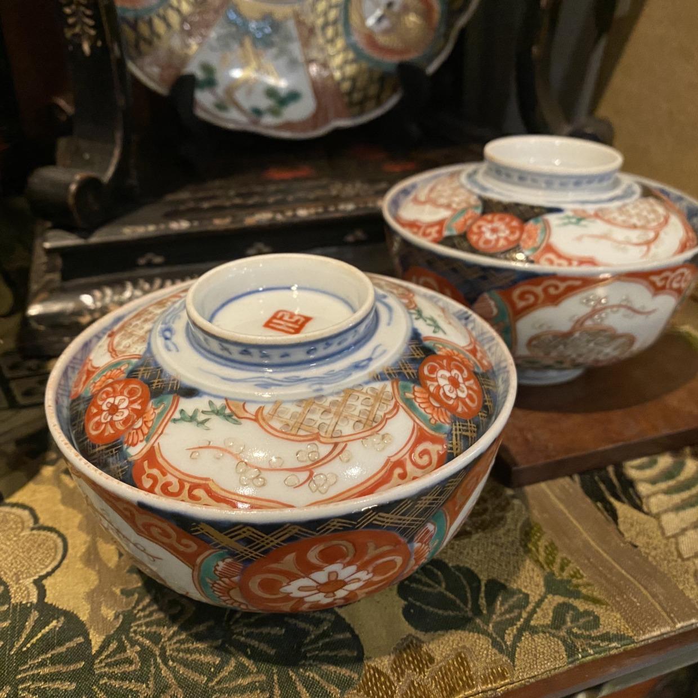 赤絵 蓋付茶碗 伊万里焼