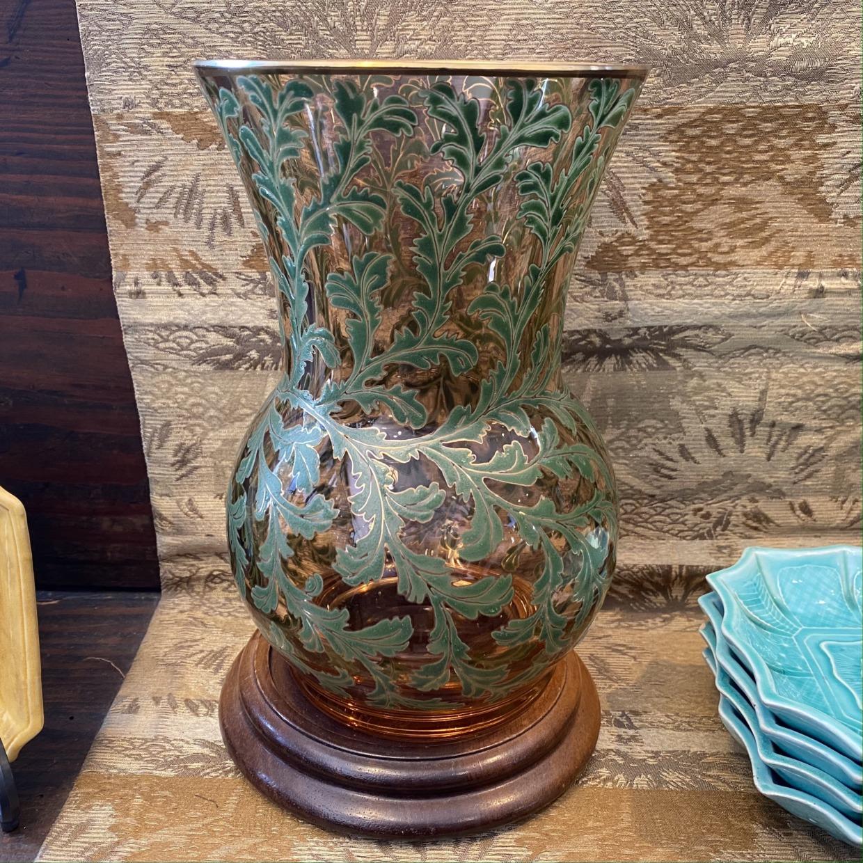 雨宮ガラス 緑 花瓶