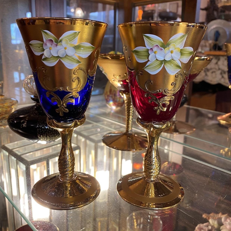 ベネチアガラス Venetian Glass ワイングラス ペアセット 赤と青