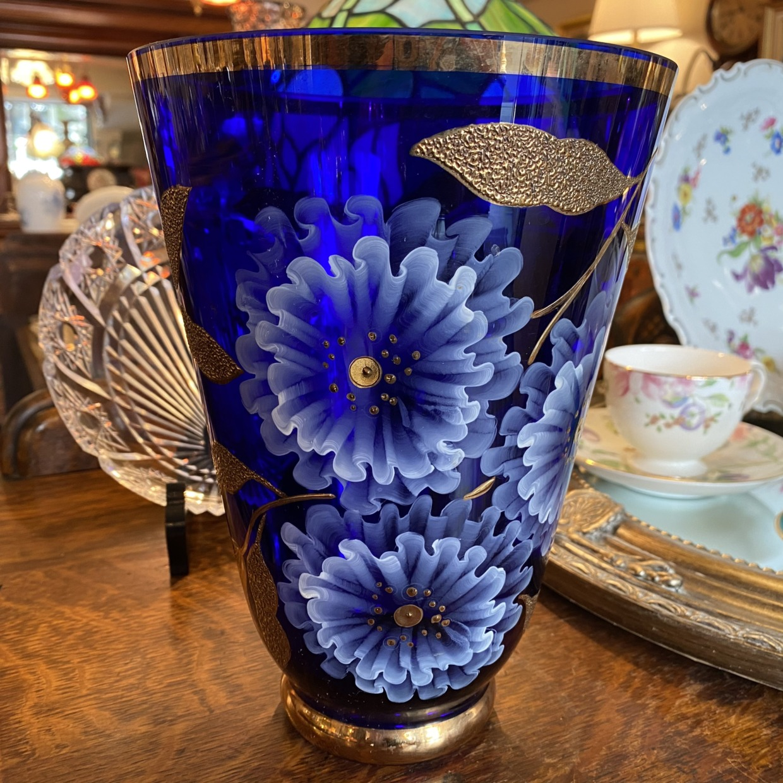BOHEMIA ボヘミアガラス 花瓶 青