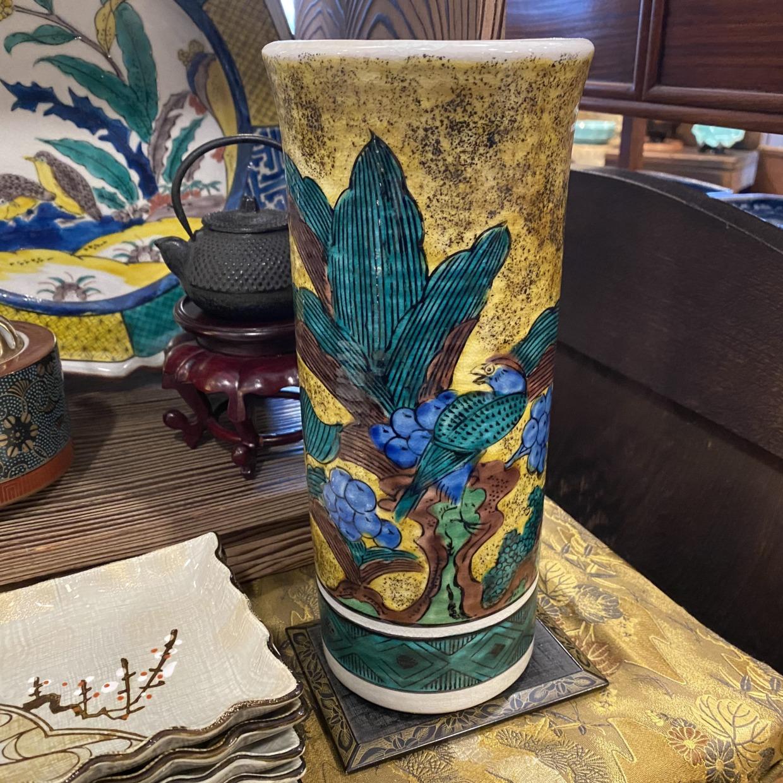 九谷焼 筒花瓶 彩光作