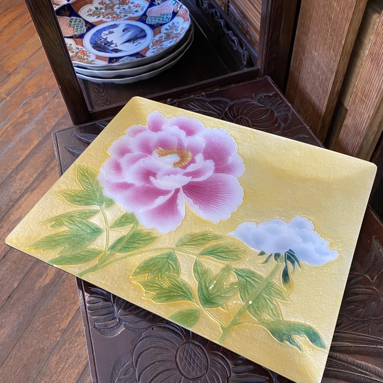 七宝焼き 安堂七宝 黄・桃色 角菓子皿