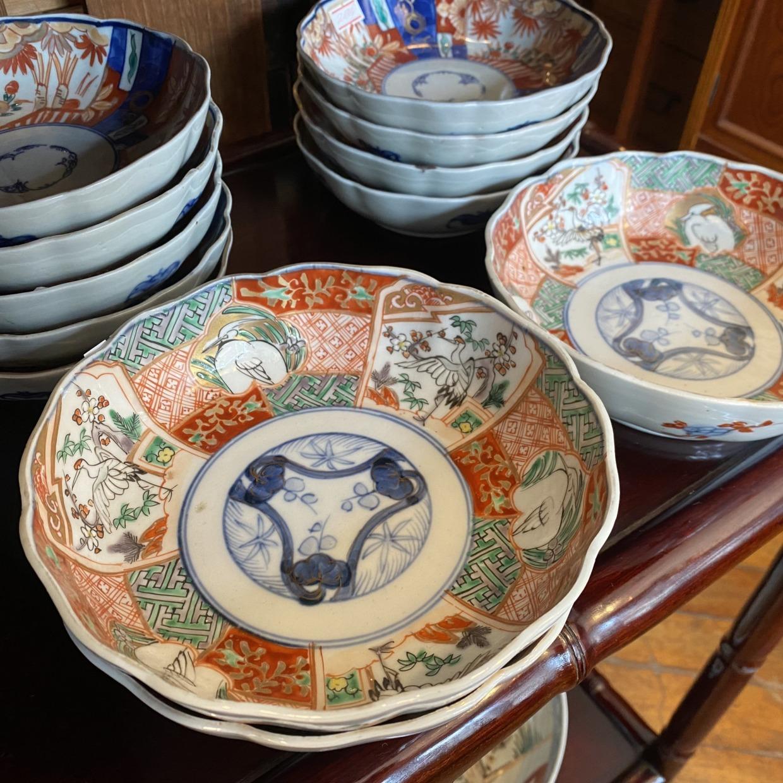 鶴・サギ柄 大なます皿 赤絵 伊万里焼