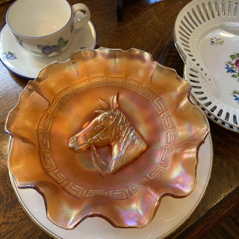 American Vintage カーニバルガラス 馬 ボウル