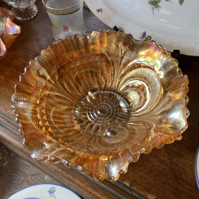 American Vintage カーニバルガラス オレンジ ボウル