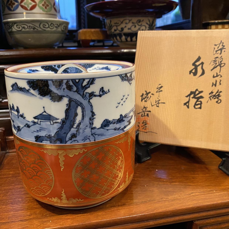 染付錦 水指 京都